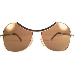 New Vintage Menrad Silver Funk Brown Lenses Germany 1970 Sunglasses