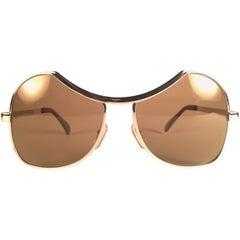 New Vintage Menrad Silver Funk Brown Lenses Germany 1970 Sunglasses