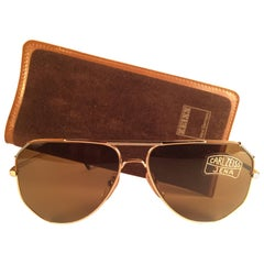 New Vintage Carl Zeiss Jena Gold Brown Grey Accents 1970's Sunglasses