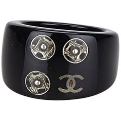 "Chanel Black ""CC"" Resin Ring"