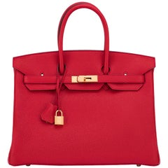 Hermes Rouge Casaque Lipstick Red 35cm Birkin Gold Hardware A Stamp