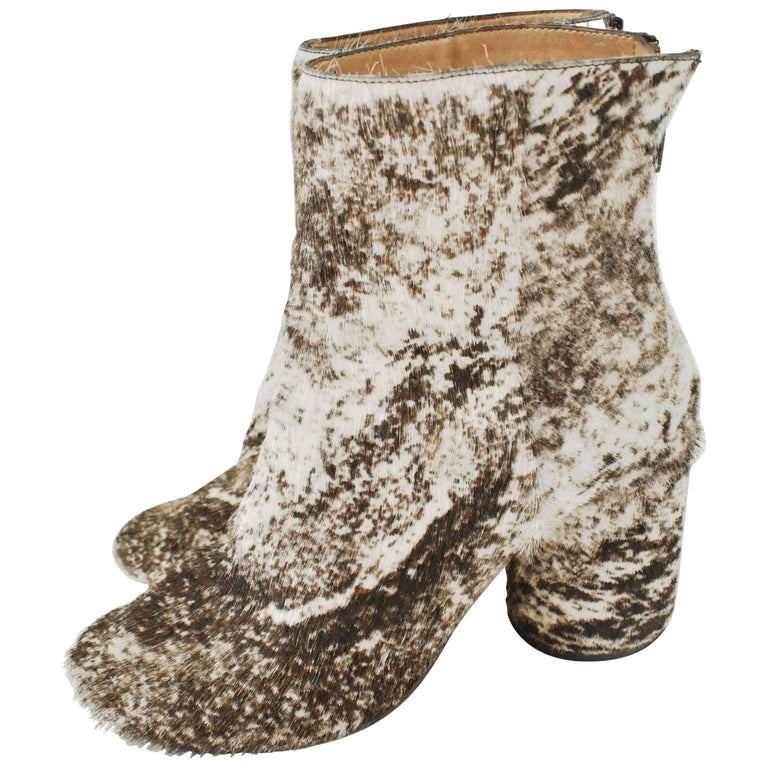 Maison Martin Margiela White and Brown Ponyskin 'Socks' Ankle Boots 1