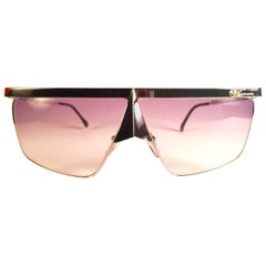 New Vintage Casanova Silver Avantgarde Frame Purple Lens 1980 Sunglasses
