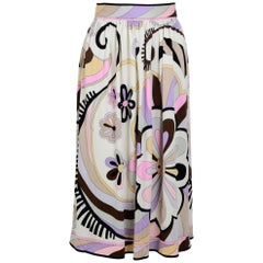 1970's Emilio Pucci Signed Silk Jersey Skirt