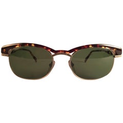 New Vintage Kenzo Clubmaster Style Tortoise Silver Sunglasses 1980's