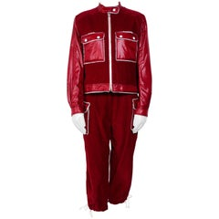 1960's Courreges hyperbole red corduroy / nylon two piece set