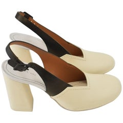 Celine Cream Patent Leather Contrast Colour Slingback Heeled Pumps w Rubber Heel