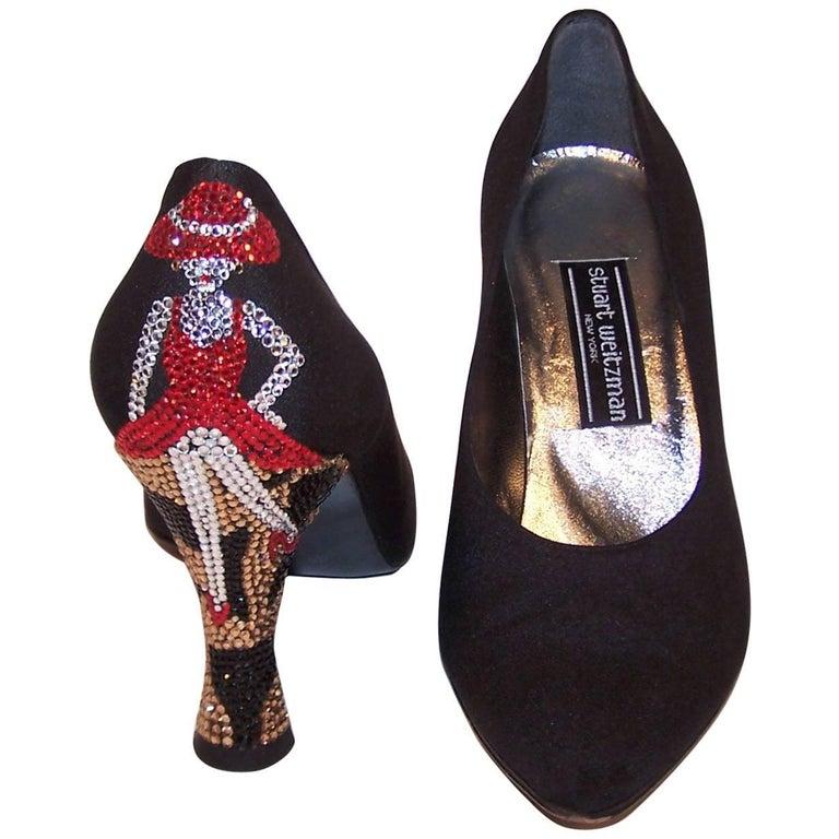 Whimsical 1980's Stuart Weitzman Bejeweled Black Evening Shoes