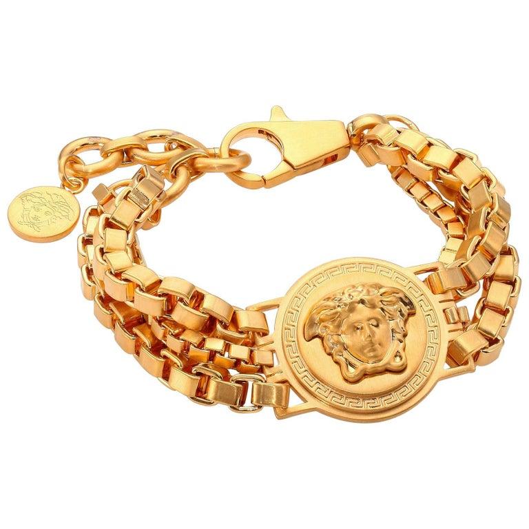 New Versace Men s Gold Plated Metal Triple Chain Medusa Bracelet For Sale 419b8135ead