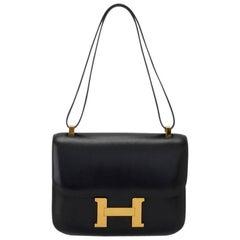 Hermes Black Box Calf Leather Constance 23cm Shoulder Bag