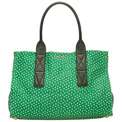 Mui Mui Green Canvas with White Polka Dot Tote Bag