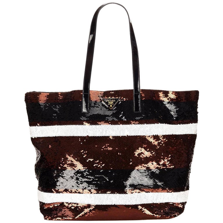 Prada Brown/Black/White  Sequinned Tote Bag