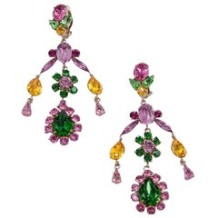 Philippe Ferrandis Crystals Clip-On Chandelier Earrings