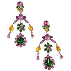 Philippe Ferrandis Crystals Clip-On Chandelier Earrings