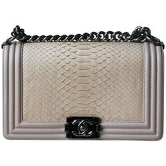 Chanel Matte Python Calfskin Medium Boy Flap Bag