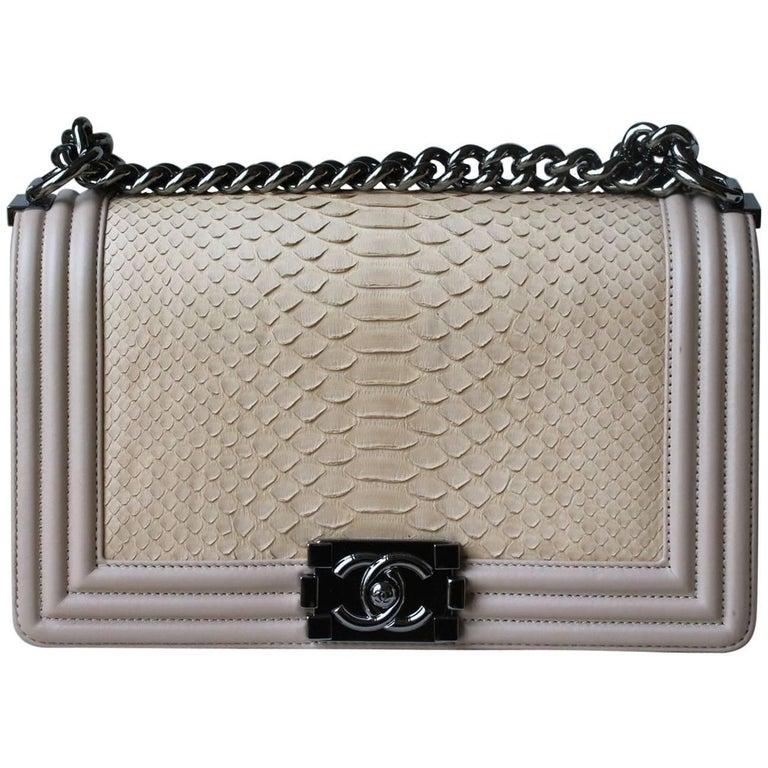 a116417a481c Chanel Matte Python Calfskin Medium Boy Flap Bag at 1stdibs