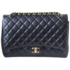 Chanel Classic Black Double-Flap Maxi Quilted Lambskin Bag
