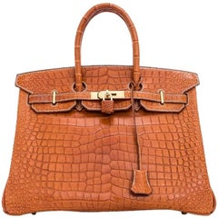 Hermes Gold Porosus Crocodile Alligator Matte Birkin 35cm Gold Hardware