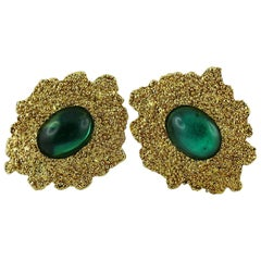 Yves Saint Laurent YSL Vintage Textured Gold Tone Clip-On Earrings