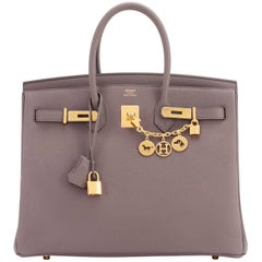 Hermes Etain Togo 35cm Tin Grey Gold Hardware C Stamp Birkin Bag