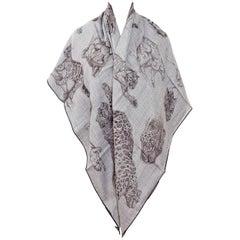 Hermes Grey Dans l'Atelier de Robert Dallet Cashmere Silk Shawl GM Scarf 140cm