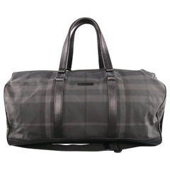 BURBERRY Black & Grey Plaid Nylon & Leather Large Duffle Bag