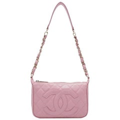 Chanel Pink CC Quilted Caviar Leather Shoulder Bag