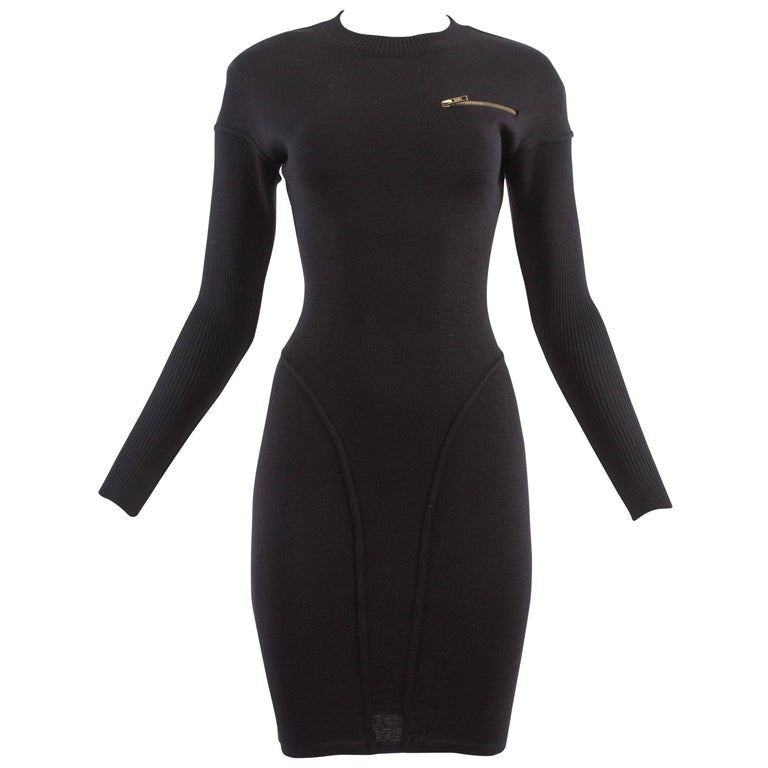 Alaia Autumn-Winter 1986 black knitted body con dress