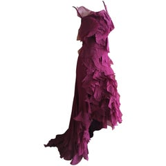 Nina Ricci Vintage Fuscia Silk Organza Petal Flamenco Dress with Train