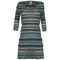 M Missoni Blue & Grey Knit Long Sleeve Dress sz S