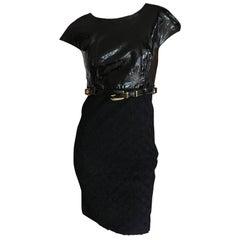 Gianni Versace Couture 1980's Black Patent & Boucle Mini Dress w Medusa Belt