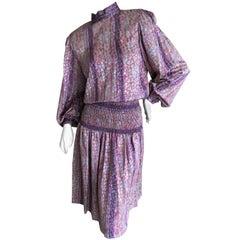 Galanos for Martha Park Avenue Silk Drop Waist Peasant Dress