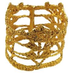 Stunning Christian Lacroix Paris Gold Plate Knitting Large Bangle Bracelet
