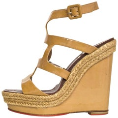 Christian Louboutin Tan Patent Wedge Sandals Sz 37 with DB