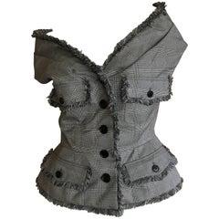 John Galliano 2011 Christian Dior Silk & Wool Off the Shoulder Sleeveless Jacket