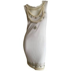 Christian Dior Chic Silk Dress with Lesage Trompe-l'œil Pearl and Crystal Jewels
