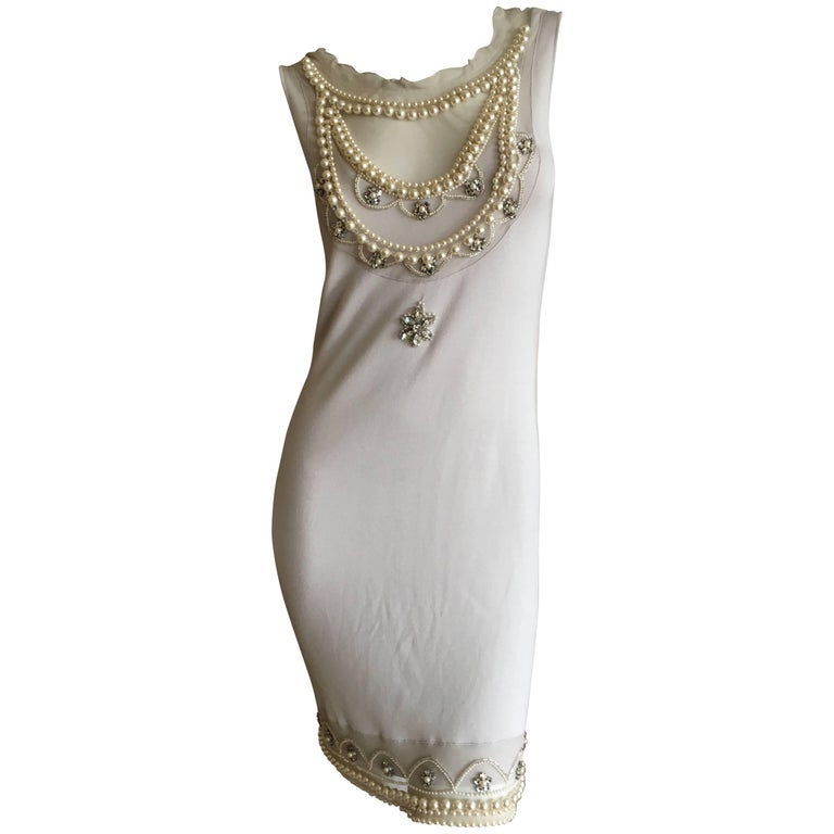 Christian Dior Chic Silk Dress with Lesage Trompe-l'œil Pearl and Crystal Jewels 1