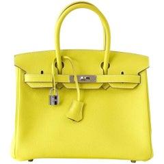 Hermes Birkin 30 Bag Rare Lime Candy Gris Perle Interior Palladium Hardware