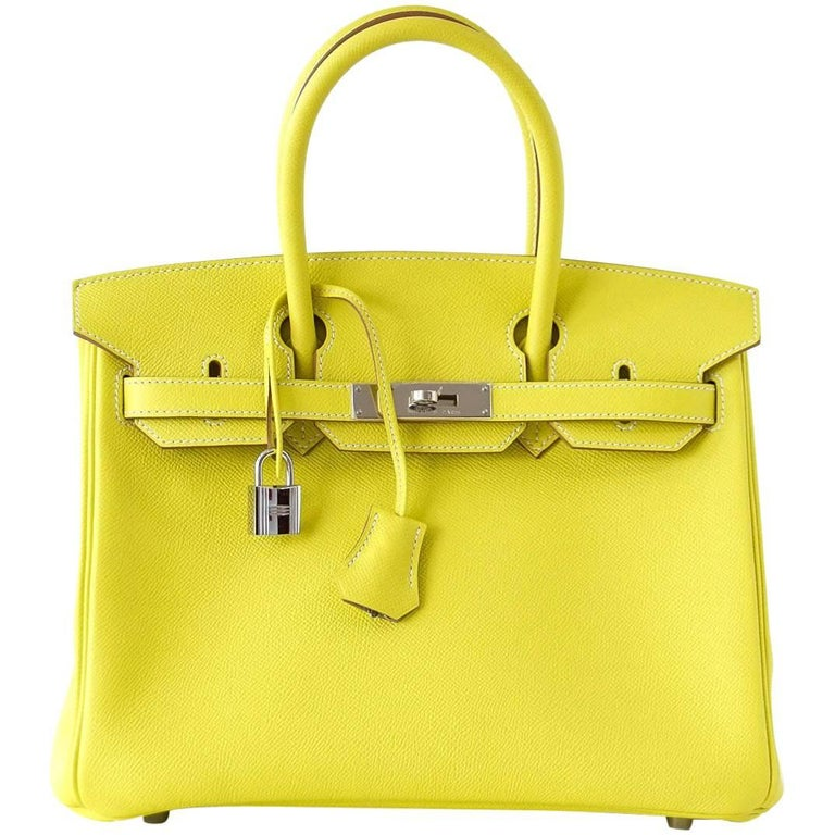 Hermes Birkin 30 Bag Rare Lime Candy Gris Perle Interior Palladium Hardware