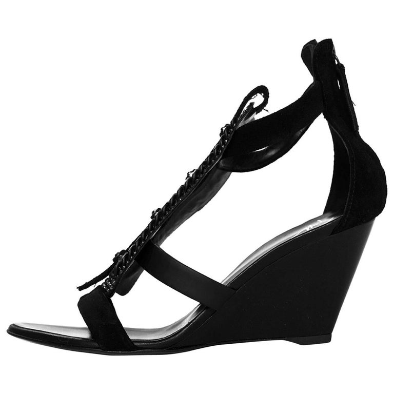 Giuseppe Zanotti Black Bead & Chain Sandals Sz 36 NIB