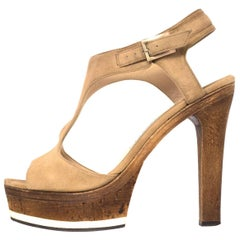 Jimmy Choo Nixon Tan Suede T-Strap Sandals Sz 36 with Box