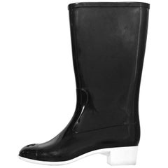 Chanel Black and White Rubber CC Rain Boots Sz 40