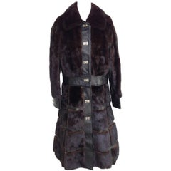 1970'S Mod Gucci Style Mink and Leather, Two-Piece Full Length Coat