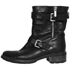 Aquatalia Black Leather Moto Ankle Boots Sz 7.5 with Box