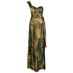 1940's French Couture Metallic Gold Lame Hourglass One-Shoulder Gown & Bolero