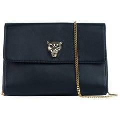 Roberto Cavalli Womens Black Leather Cosmetic Bag