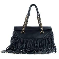 Roberto Cavalli Women's Black Regina Studded Fringe Nappa Leather Bag
