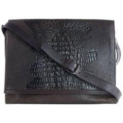 Roberto Cavalli Men's Brown Leather Croc Embossed Messenger Bag