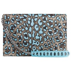Roberto Cavalli Women's Large Blue Cheetah Print Juno Clutch