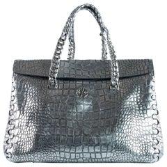 Roberto Cavalli Womens Metallic Silver Croc-Embossed Satchel Bag